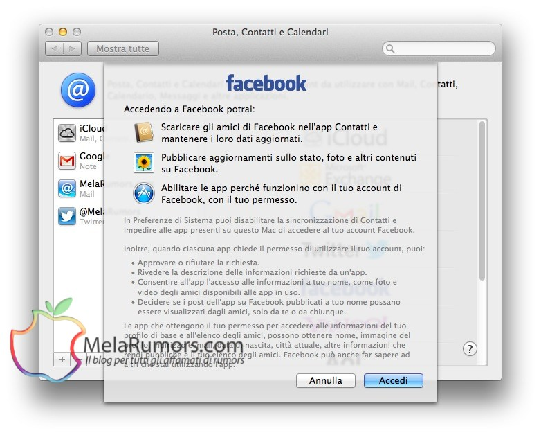 configurare impostare facebook mountain lion melarumors 4 mountain lion mac guida facebook account