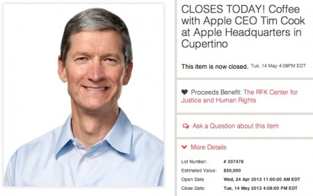 charitybuzz 610 mila dollari tim cook coffee melarumors 450x282 tim cook charitybuzz asta appuntamento $610.000 dollari