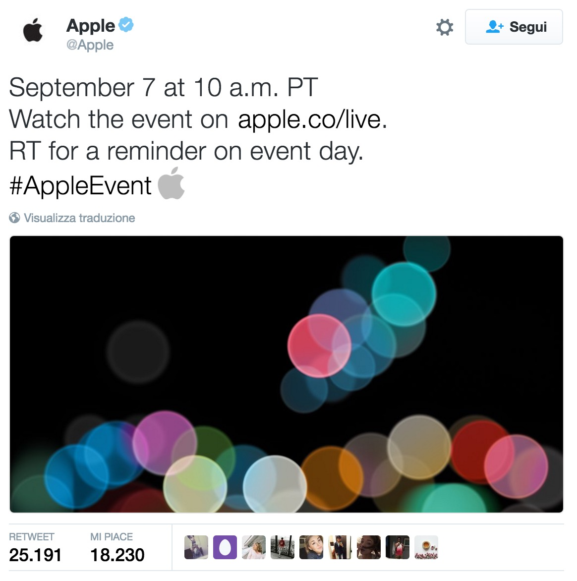 post twitter evento apple iphone 7